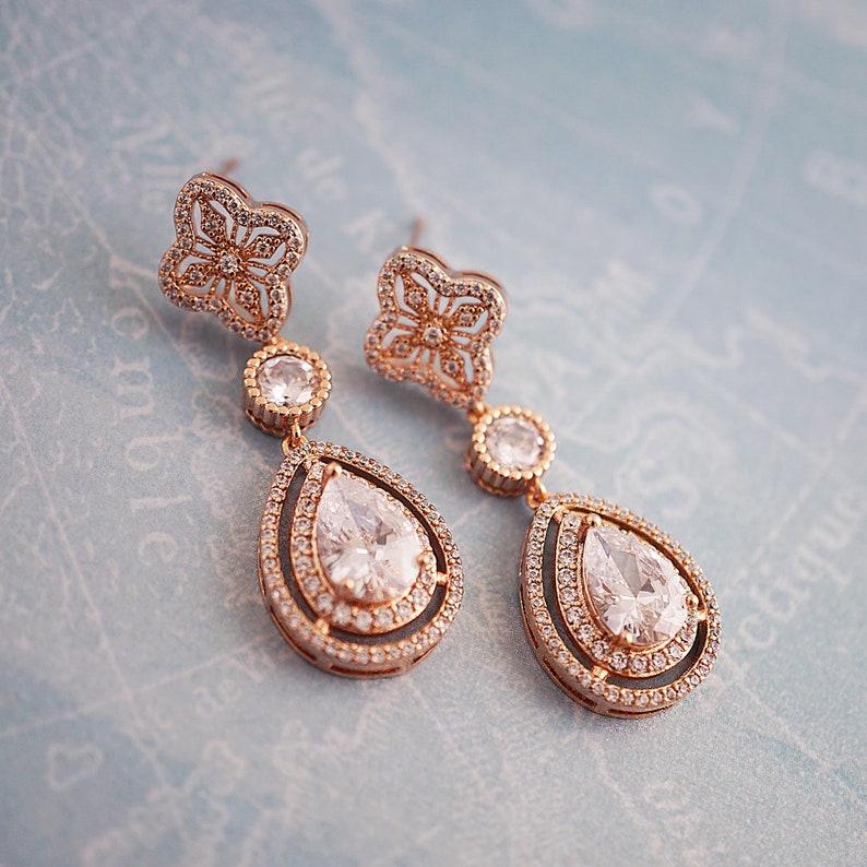 c69f07722 Elegant Bridal Earrings Rose gold bridal earrings Wedding | Etsy