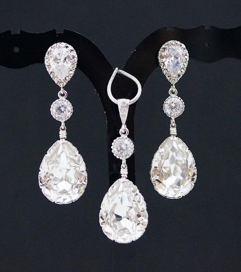 5d80a6eba Bridal Jewelry Set Swarovski Crystal Jewelry Set Wedding | Etsy