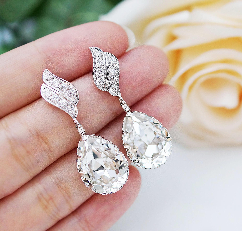 Wedding Jewelry Bridal Earrings Bridesmaid Dangle Earrings LUX   Etsy