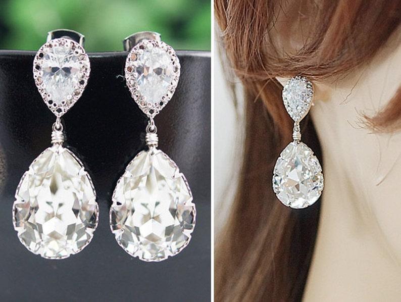 ccb34c8b2 Wedding Jewelry Bridal Earrings Bridesmaid Earrings Dangle | Etsy