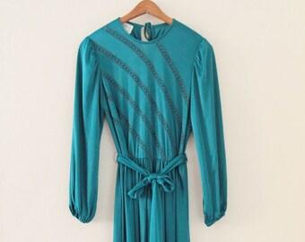 70's Emerald Green Evening Dress