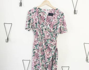 90's Floral Surplice Dress