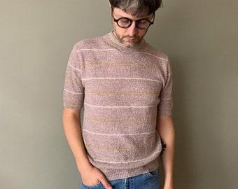 1960s Mauve-Beige Knit Shirt / vintage 60's striped men's top mod leisure t-shirt textured mock neck size medium