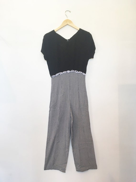 90s Black Checkered Jumpsuit