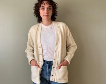 1960s East-Tenn Award Sweater / vintage letterman varsity cardigan white size Medium