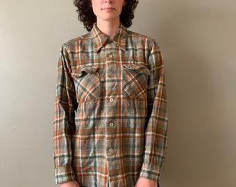 1960s Pendleton Wool Plaid Button Up Shirt / vintage tartan oxford button down size small