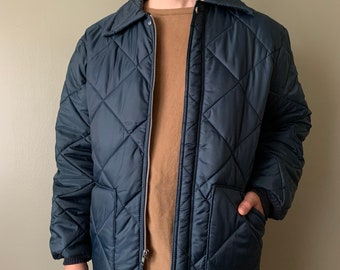 1980s Big Smith Quilted Thermal Jacket / vintage padded coat navy blue cold weather size large