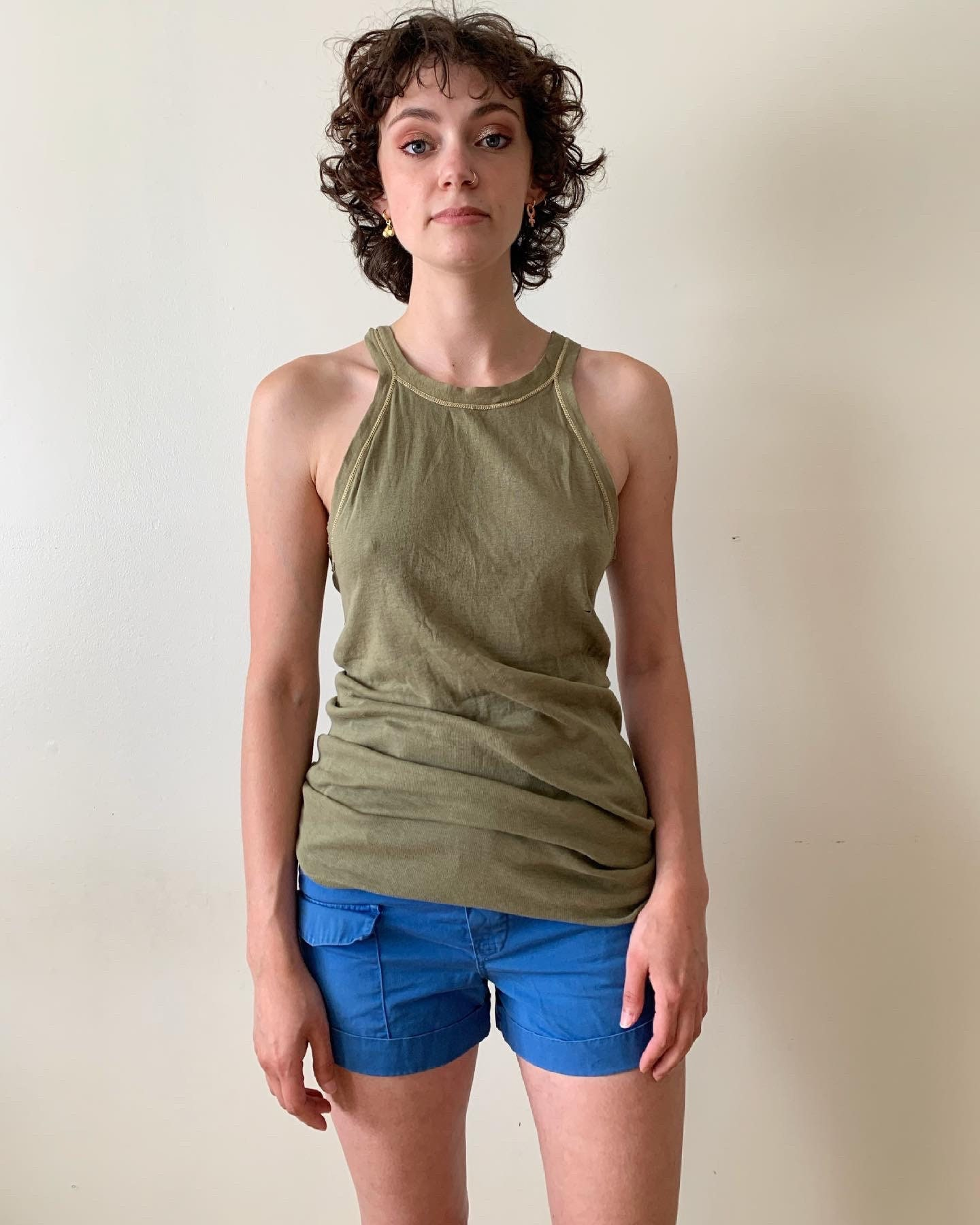 1940s Men's Shirts, Sweaters, Vests 1940S Ww2 Olive Green Tank Top UndershirtVintage Military Us Army Antique Mens Small Thin $75.00 AT vintagedancer.com