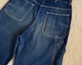 "1950s Big Mac Utility Denim Pants / vintage 50's jeans painters workwear JCPenney waist 29""-30"""