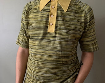 1960s Chartreuse Space Dye Collared Shirt / vintage 60's Dreyfuss and Son short sleeve leisure top henley mod shirt size Medium green