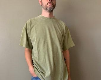 1990s Sage Green Blank Tee / Vintage Plain Cotton Single Stitched Large Basic