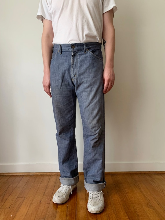 1950s Roebucks Pigeon Blue Jeans Waist 33