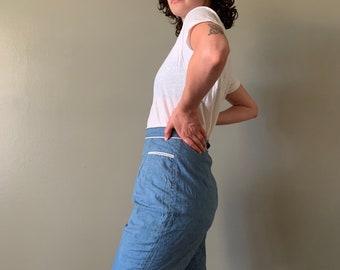 "1950s High Waist Denim Shorts / vintage lightweight cotton chambray women's shorts waist 26"""