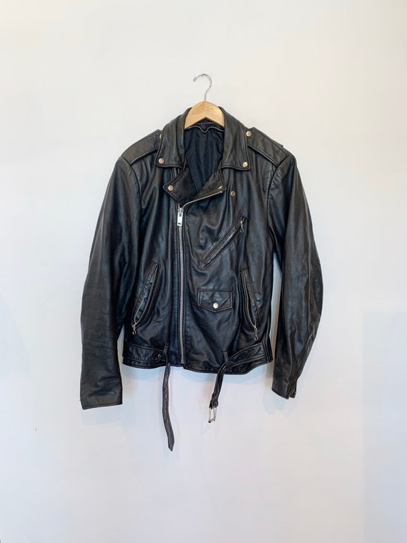 90s Black Leather Moto Jacket