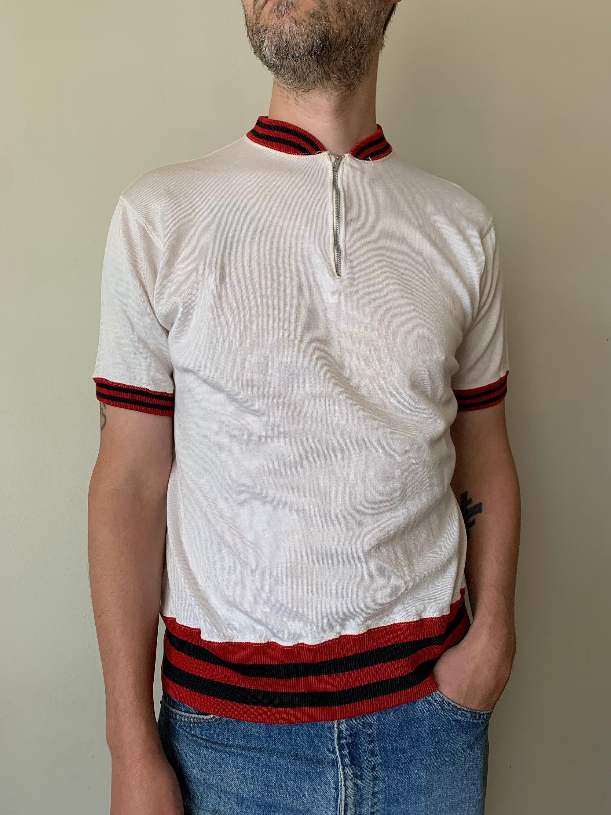 1950s Men's Ties, Bow Ties – Vintage, Skinny, Knit 1950S White Quarter Zip Durene TopVintage Athletic Mid-Century Jersey Team School Medium $75.00 AT vintagedancer.com