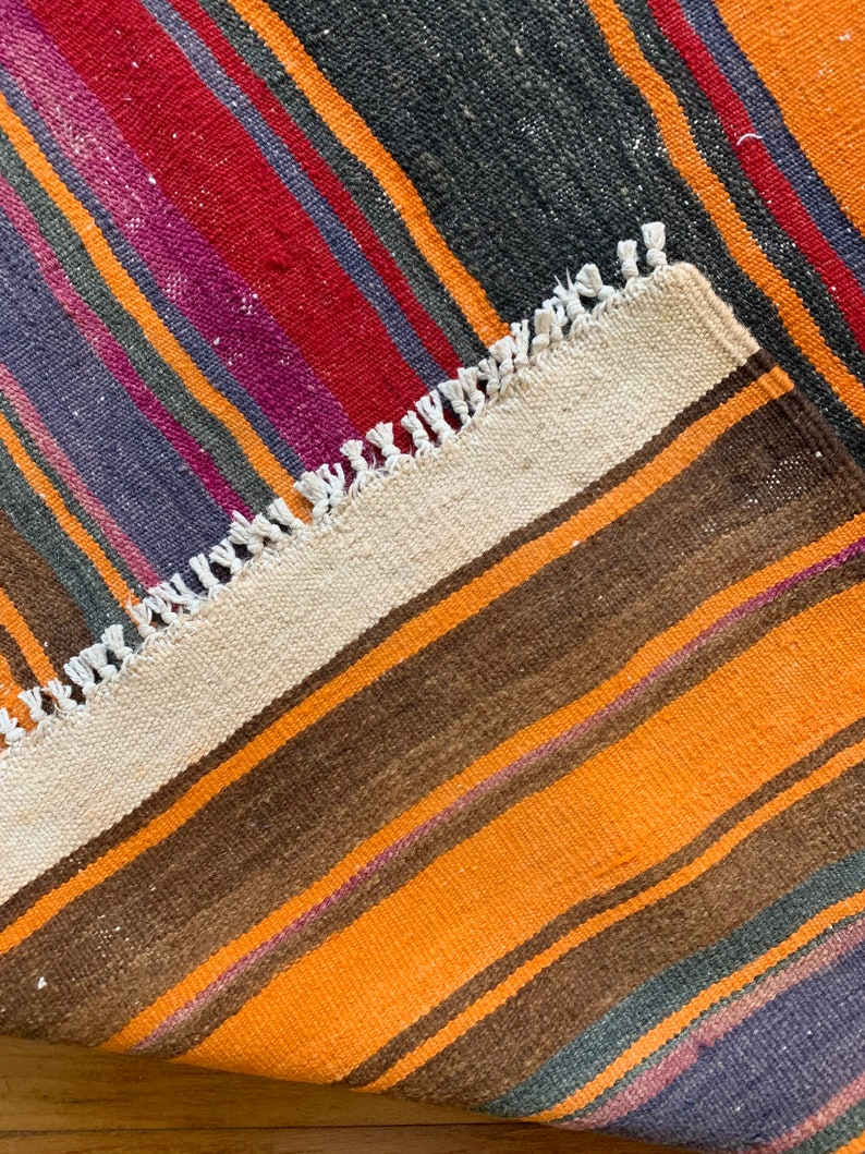 Vintage Turkish Kilim Area Rug  Striped Wool Vegetable Dyes 3/' x 6/' Classic Southwestern Handwoven