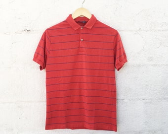 80s Striped Red Polo Shirt