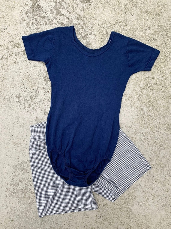 1960s Navy Blue Poly Leotard / Vintage Medium Danc