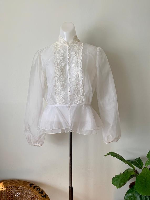 1980s Sheer White Organza Blouse / Vintage Medium