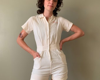 1940s Merrygarden Gym Romper / vintage antique 40's gym suit short overalls playsuit white size S-XS chain stitched Timmy