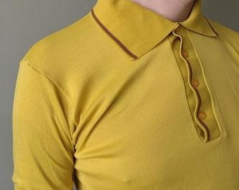 1960s Corn Yellow Leisure Top / vintage mustard button collar lightweight collared shirt size Medium