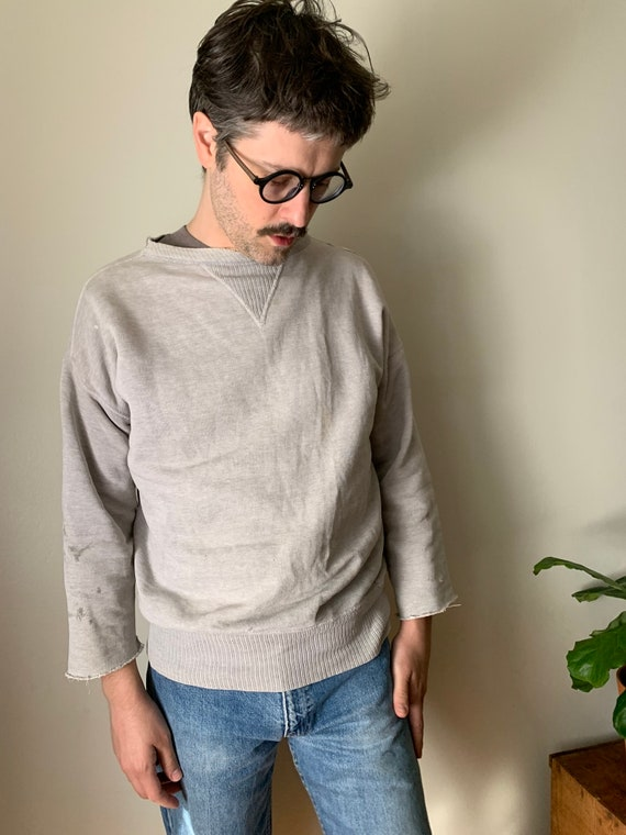 1940s Light Grey Single V Sweatshirt / Crewneck La