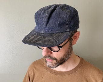 1960s or early 1970s 6 Panel Denim Cap / vintage jean trucker hat baseball cap