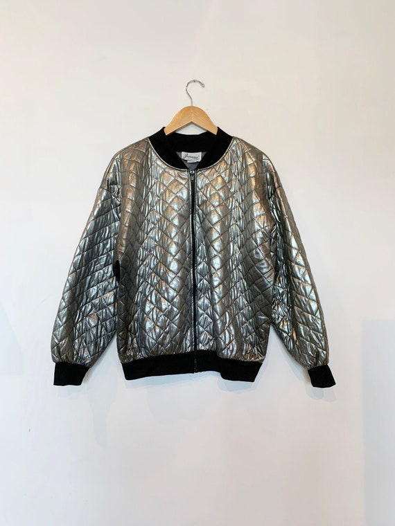 1980s Spacey Quilted Bomber Jacket