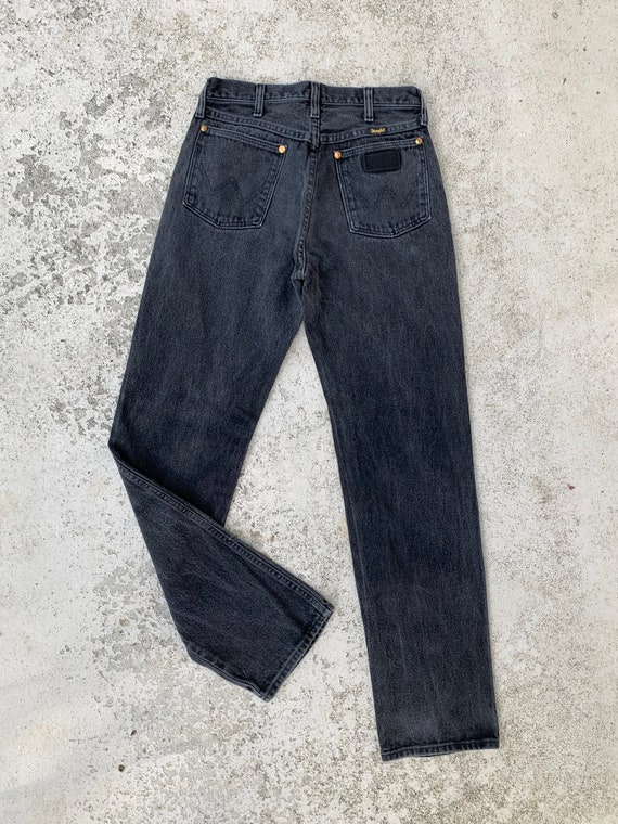 1980s Faded Black High Rise Wrangler Jeans Waist 2