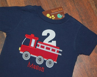 Fire Truck Birthday Shirt, Firetruck Birthday Shirt, Boys Birthday Shirt, Firetruck Birthday, Navy Blue