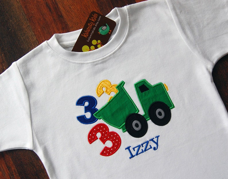 Boys Monogrammed Birthday Shirt Dump Truck With Numbers