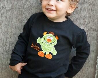 Monster Halloween Shirt, Monster Halloween Bodysuit, Black Halloween Shirt, Boys Halloween Shirt, Monogrammed Halloween Shirt, Long Sleeved
