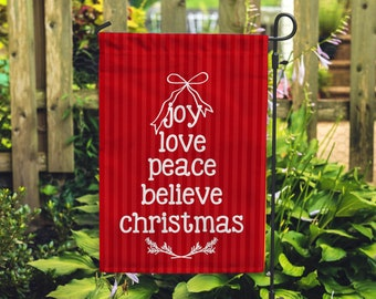 """Joy Love Peace Holiday Garden Flag 12""""x18"""""""