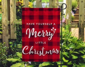 "Merry Little Christmas Holiday Garden Flag 12.5""x18"""