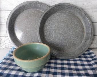 Vintage Pair of Gray Granite Ware Pie Pans Farmhouse  Primitive Cottage