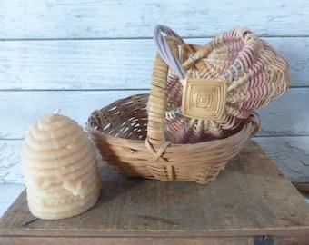 Vintage Small Wicker Baskets Farmhouse Décor Cottage Unique