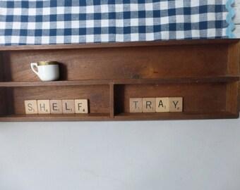 Vintage Wood Tray Box Shelf Farmhouse Primitive Cottage