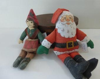 Vintage Hallmark Cloth Dolls Santa Drummer Boy Christmas Holidays 1970s