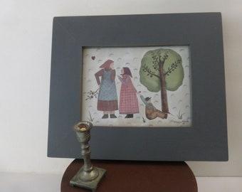 Vintage Print Barbara Bourgeau-Richards Winter Numbered Cottage  Farmhouse Folk Art
