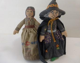 Vintage Hallmark American Spirit Dolls Witch and Native American Girl 1970s Halloween Fall
