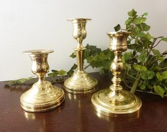 Vintage Brass Classic Candlesticks Farmhouse Cottage Candleholder