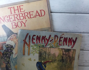 Antique 1921 Children's Books from Saalfield Cloth Classics Henny Penny and The Gingerbread Boy