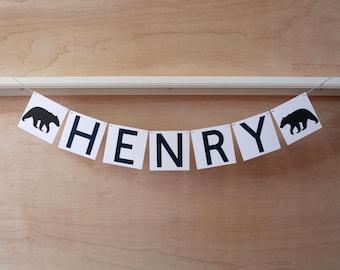 "Bear Banner - Custom Name or Phrase - Bear Baby Shower or Party Decoration - Custom Colors - 4"" Tall Pennants"