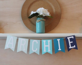 Ombre Customized Name or Phrase Banner - Blue, Pink, Purple, or Green Ombre - Baby Shower, Birthday, Photo Prop, or Home Decor