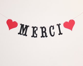 Merci Banner - Custom Colors - French Thank You - Wedding Decoration or Photo Prop
