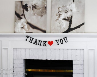 Thank You Banner - Custom Colors - Wedding Decoration or Photo Prop