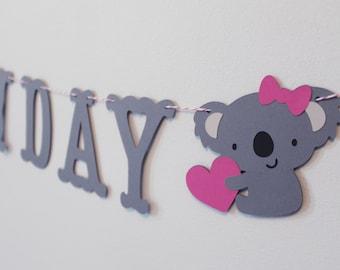 Happy Birthday Koala Banner - Custom Colors - Party, Koala Birthday Decoration or Photo Prop