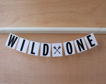 Wild One Banner - First Birthday Decoration or Photo Prop - Custom Colors - Boho Theme