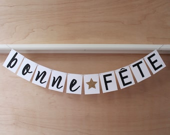 Bonne Fete Banner - French Happy Birthday Sign - Gold Glitter Star - Custom Colors - Party Decoration