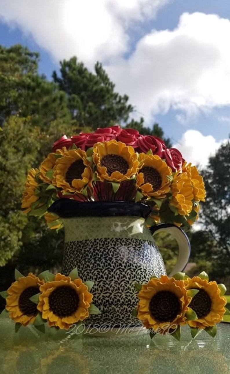 Paper Sunflowers Fifteen on Stems Paper Roses Three Dozen Hand Rolled Roses Stems colors of your choice centerpieces bouquets home decor